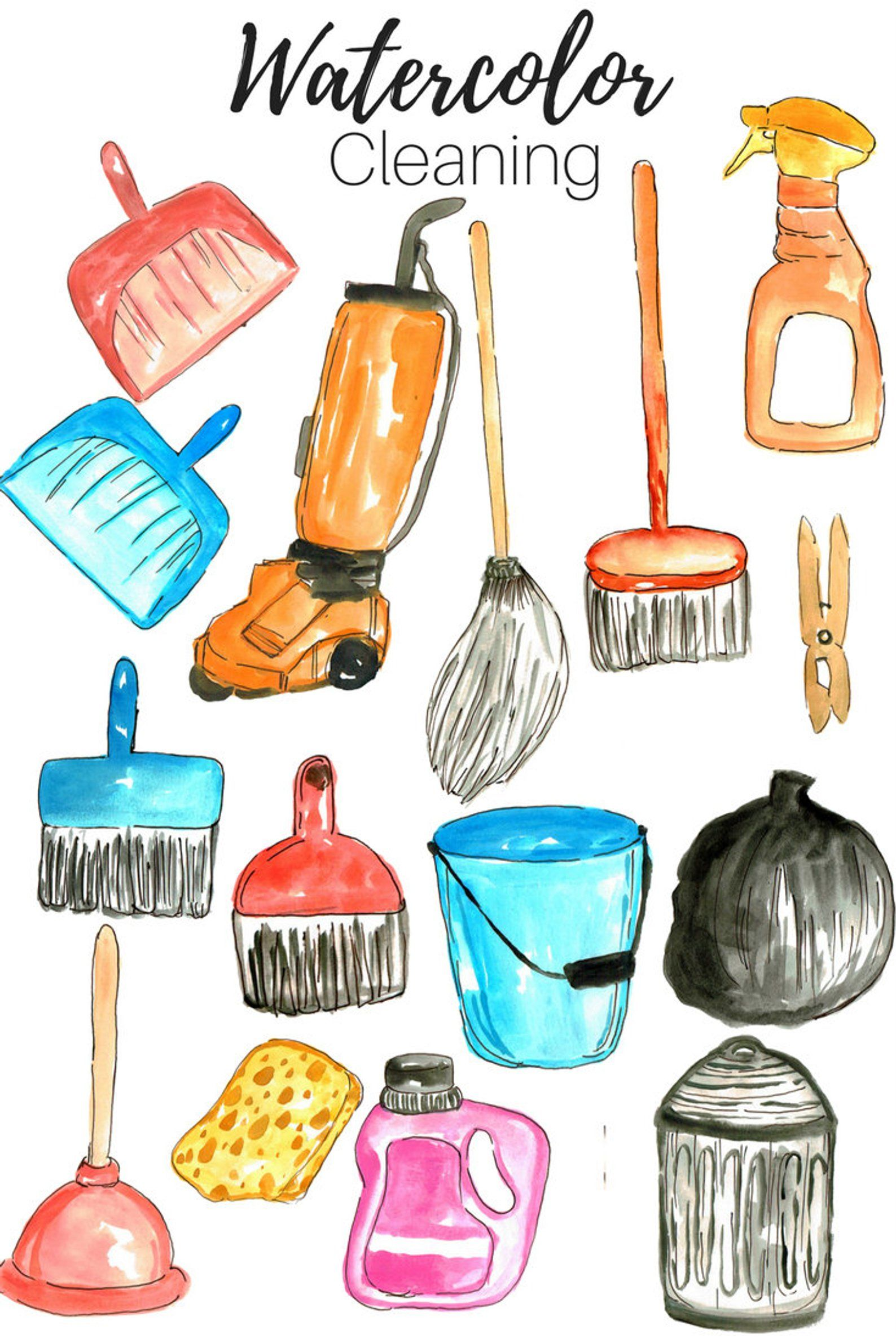 Cleaning Clip Art Spring Clip Art Watercolor Clip Art Etsy