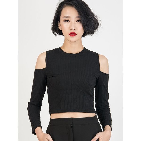 Choies Black Cold Shoulder Crop Tight Knitted Sweater (18 CAD ...