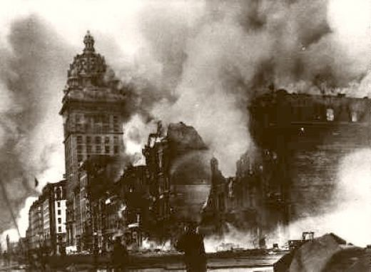 the great fires of the 1906 san francisco earthquake destroys blocks of the city