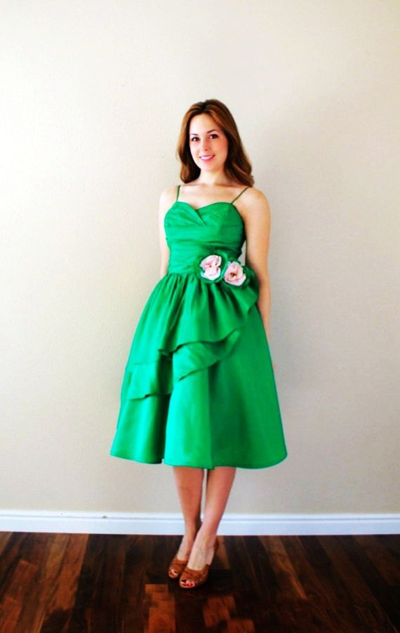Vintage 1950s Dress -- Kelly Green Formal Wedding Prom Dress ...