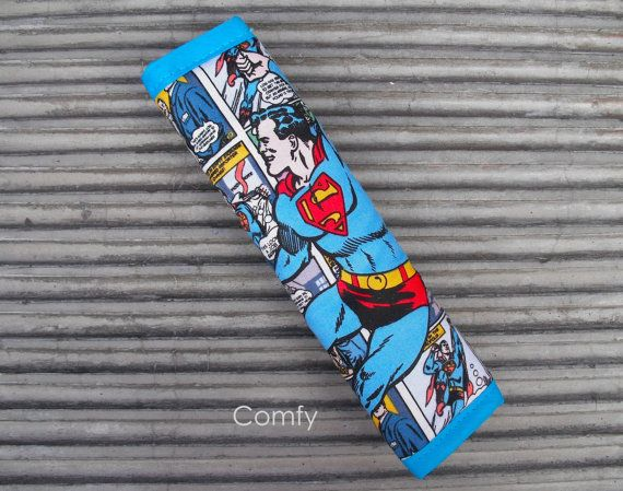 Seat Belt Strap Cover  Superman / Black on by ComfyAccessories