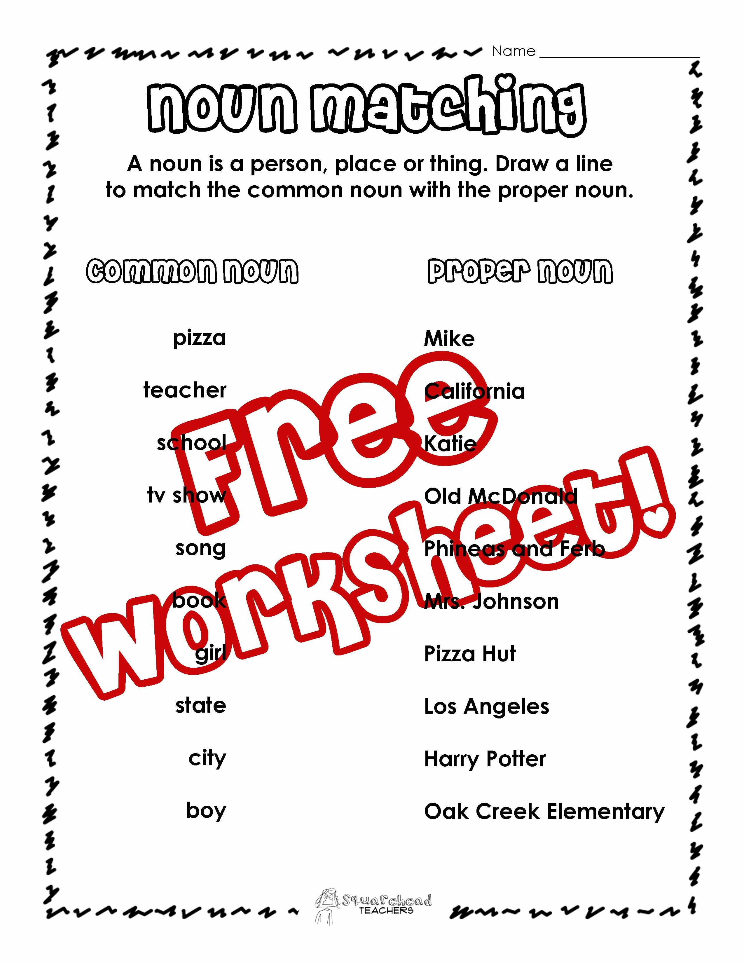 Squarehead Teachers: Common/Proper Noun Match 1 (FREE printable ...