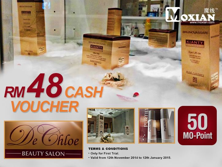 It's never too late to get presents for your loved ones or why not pamper yourself? Get this RM48 cash voucher at De Chloe beauty salon today! Hurry, grab it at www.moxian.com/moreward now.