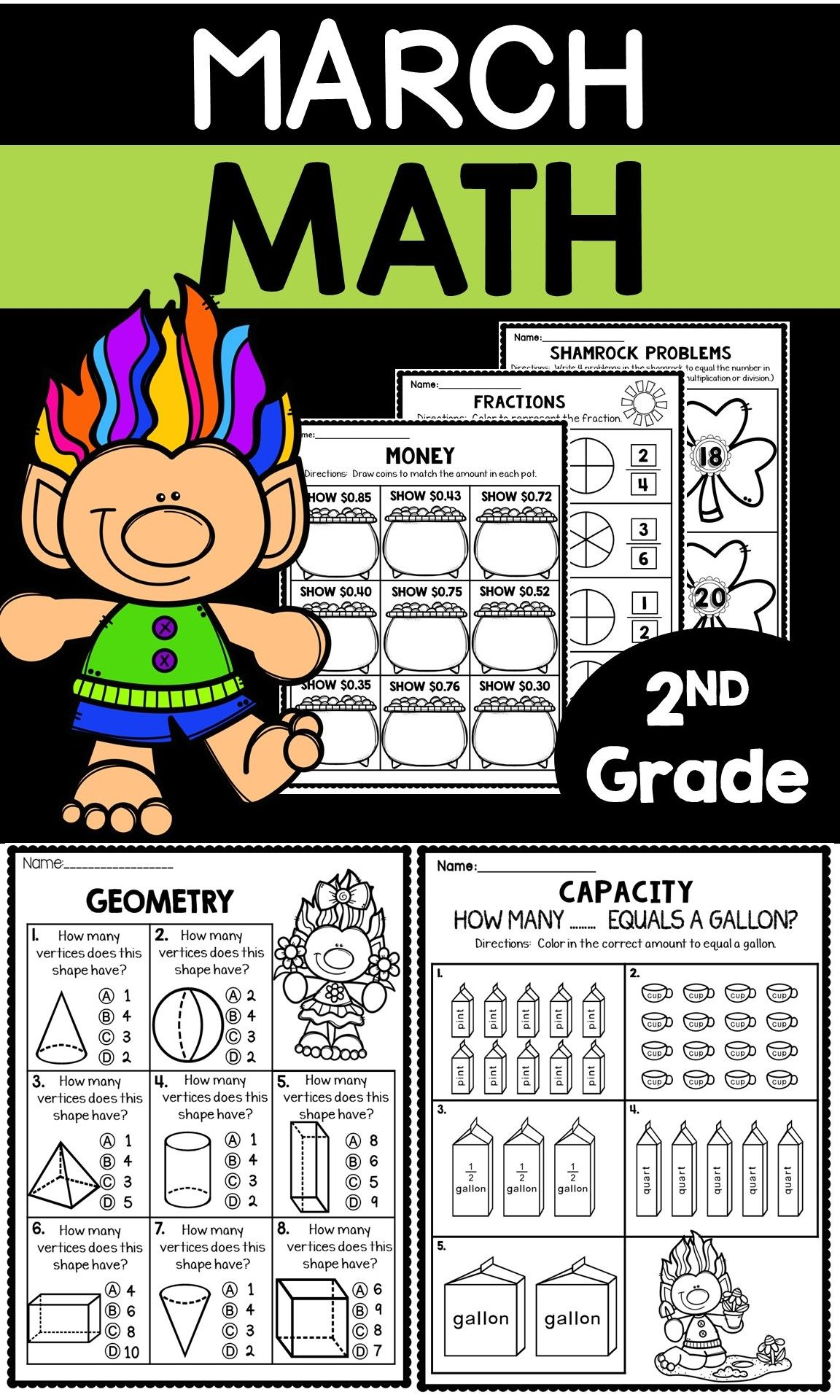 March Worksheets for 2nd Grade   March math [ 1920 x 1152 Pixel ]