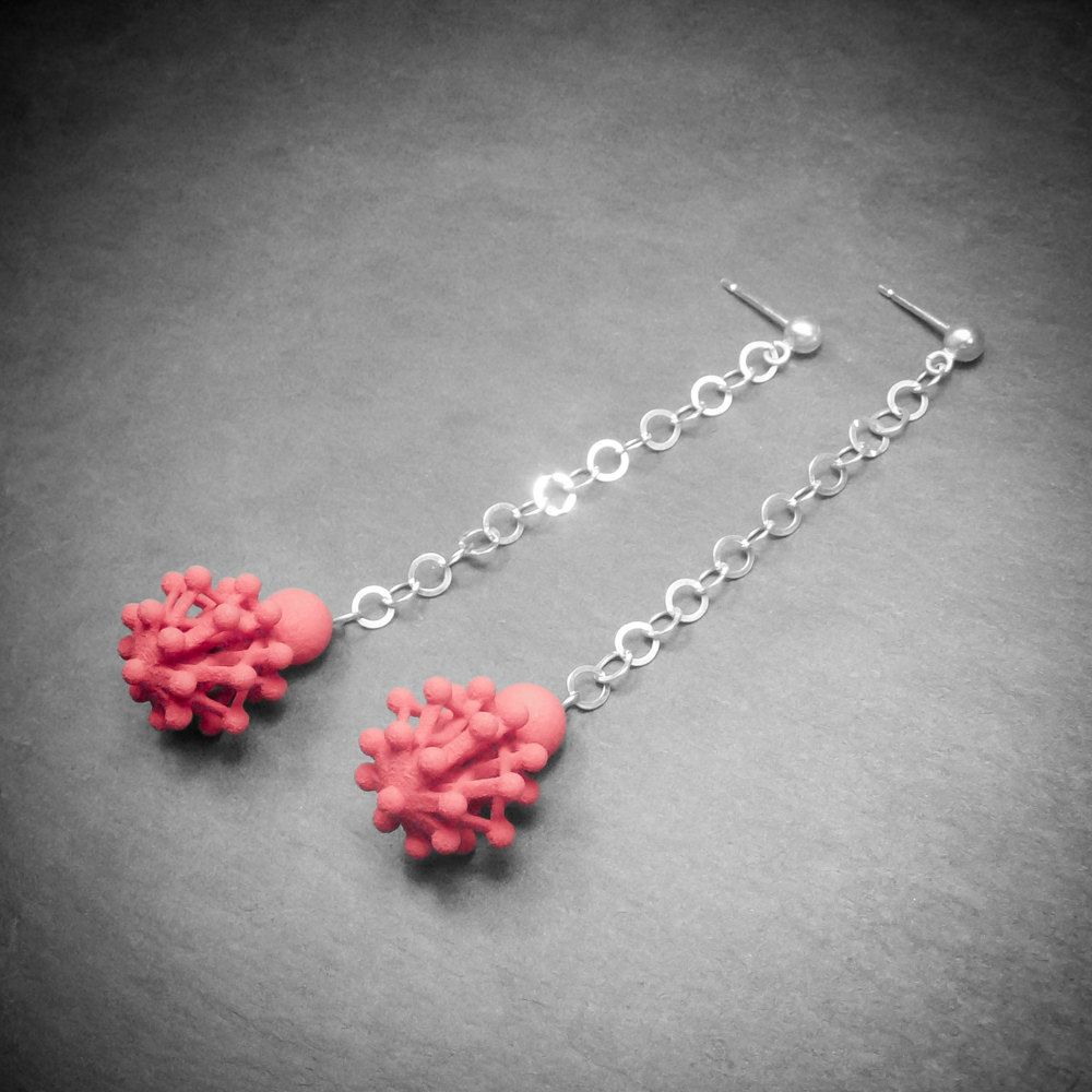 Dddrop Earrings ••• 3D Printed Jewellery Inspired by Science ••• Cherry Red Nylon & Silver by Superlora3Designs on Etsy