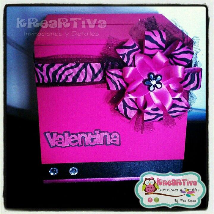 Buz n de madera para sobres de dinero para xv a os hot pink animal print estamos en reynosa - Buzones ortega ...