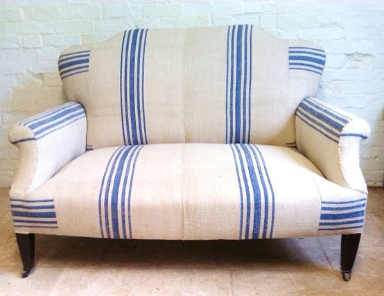 Cool And Casual French Country Style Chair Blue And White Striped Grain Sack Fabric Perfect For The Beach Cottage Furniture Upholstery Home