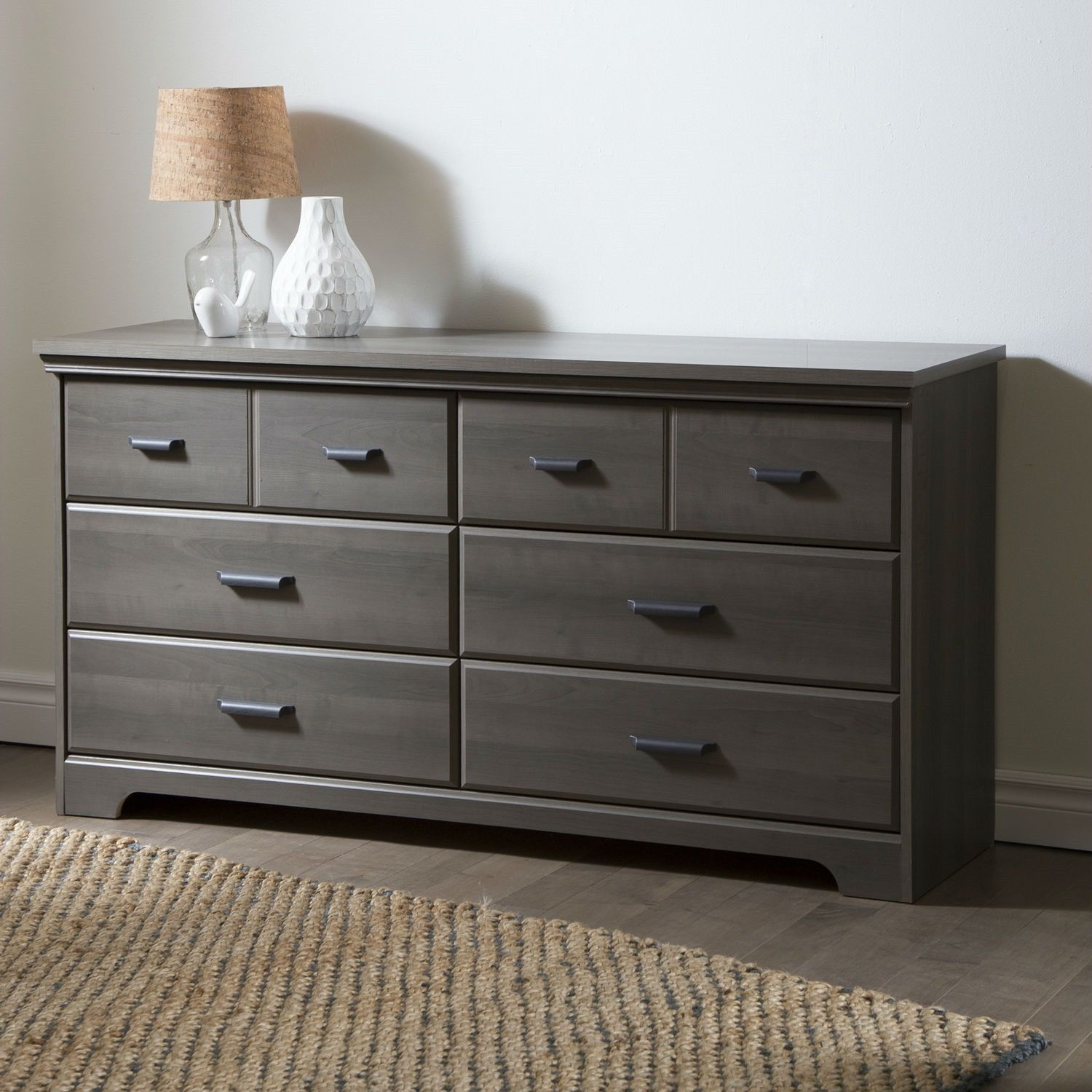 Gray maple wood finish 6 drawer bedroom dresser with matte black handles
