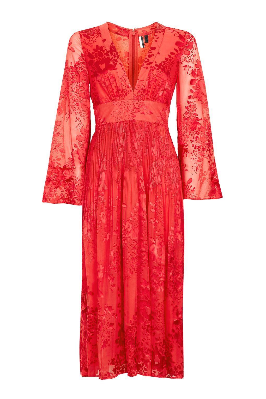 Wedding attendee dresses  Long Sleeve Burnout Midi Dress  New In  Midi dresses Ruffle dress