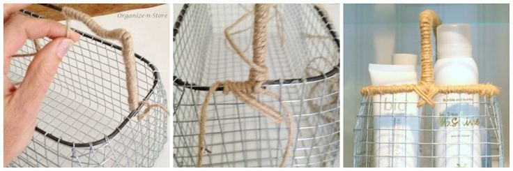 DIY Wire Baskets Twine Handle
