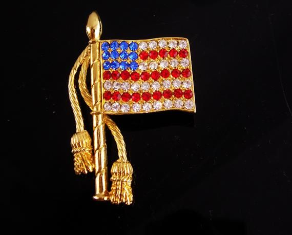 3f4e825e19d2 Rhinestone Flag brooch / Patriotic jewelry / USA red white Blue / Vintage  pin / Gold mens lapel pin