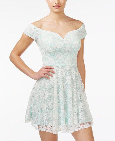 4b3d2d6f156 B Darlin Juniors  Off-The-Shoulder Lace Fit   Flare Dress