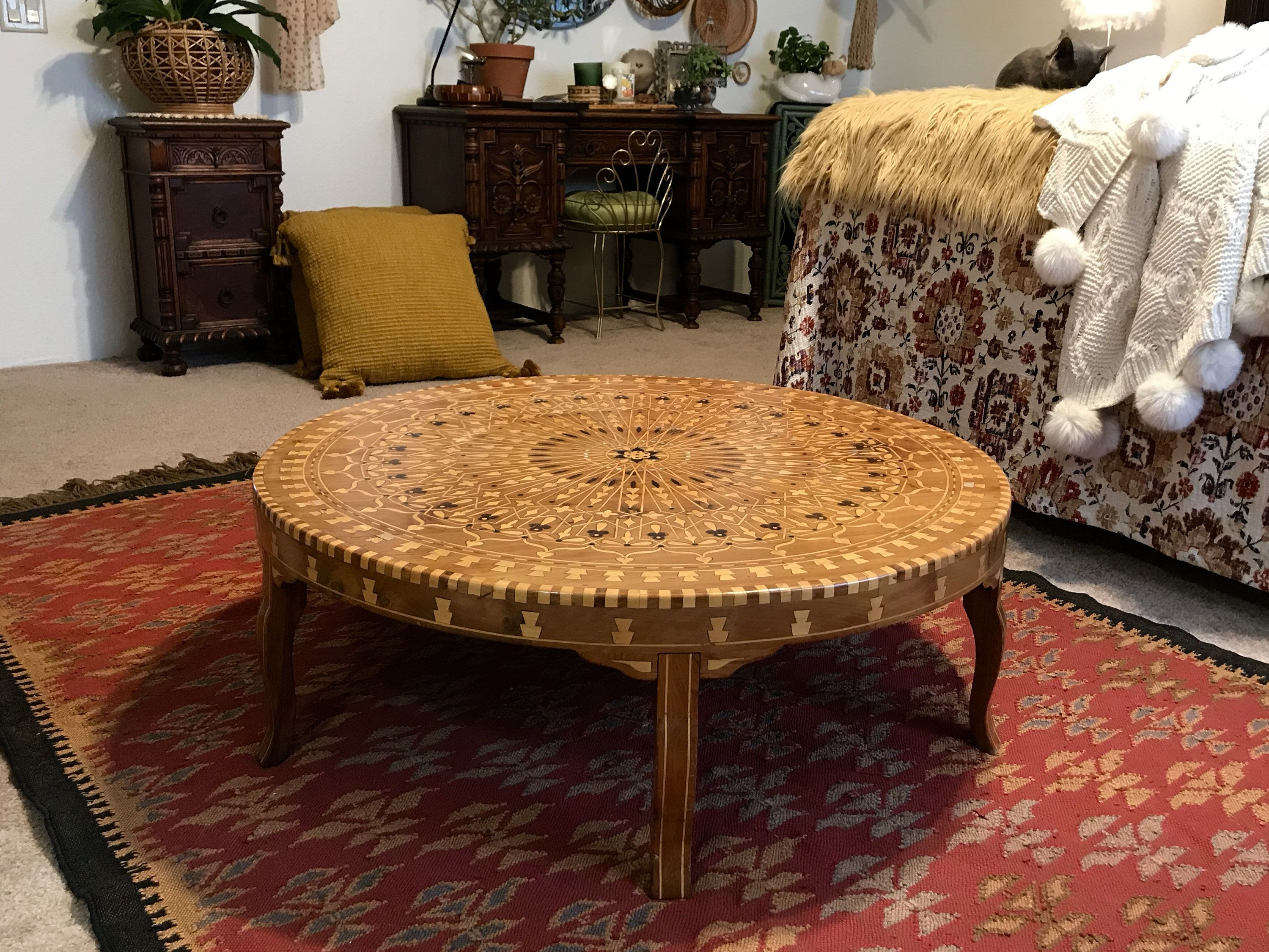 Vintage Round Inlaid Syrian Coffee Table Mother Of Pearl Wood