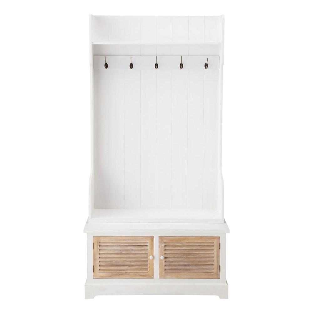Attaccapanni Mobile.Mobile Bianco Da Ingresso In Legno Con 5 Attaccapanni L 96 Cm Home