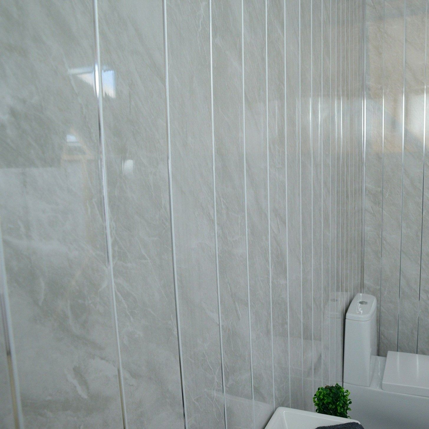 White Large Tile 7mm Shower Panels 600mm X 2 6m Pack Of 2 Geopanel Wet Wall Shower Panels Gray Bathroom Decor