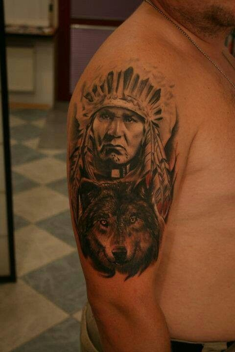 Arm Tattoo Wolf And Indian Chief With Images Indian Chief Tattoo Tattoos Animal Tattoo