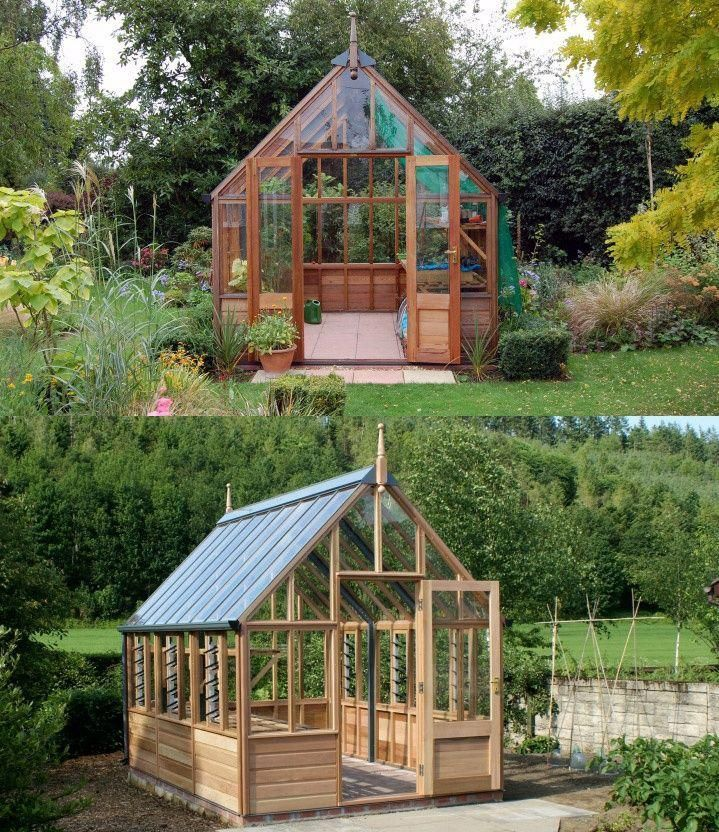 Wooden greenhouse covered in tempered glass by