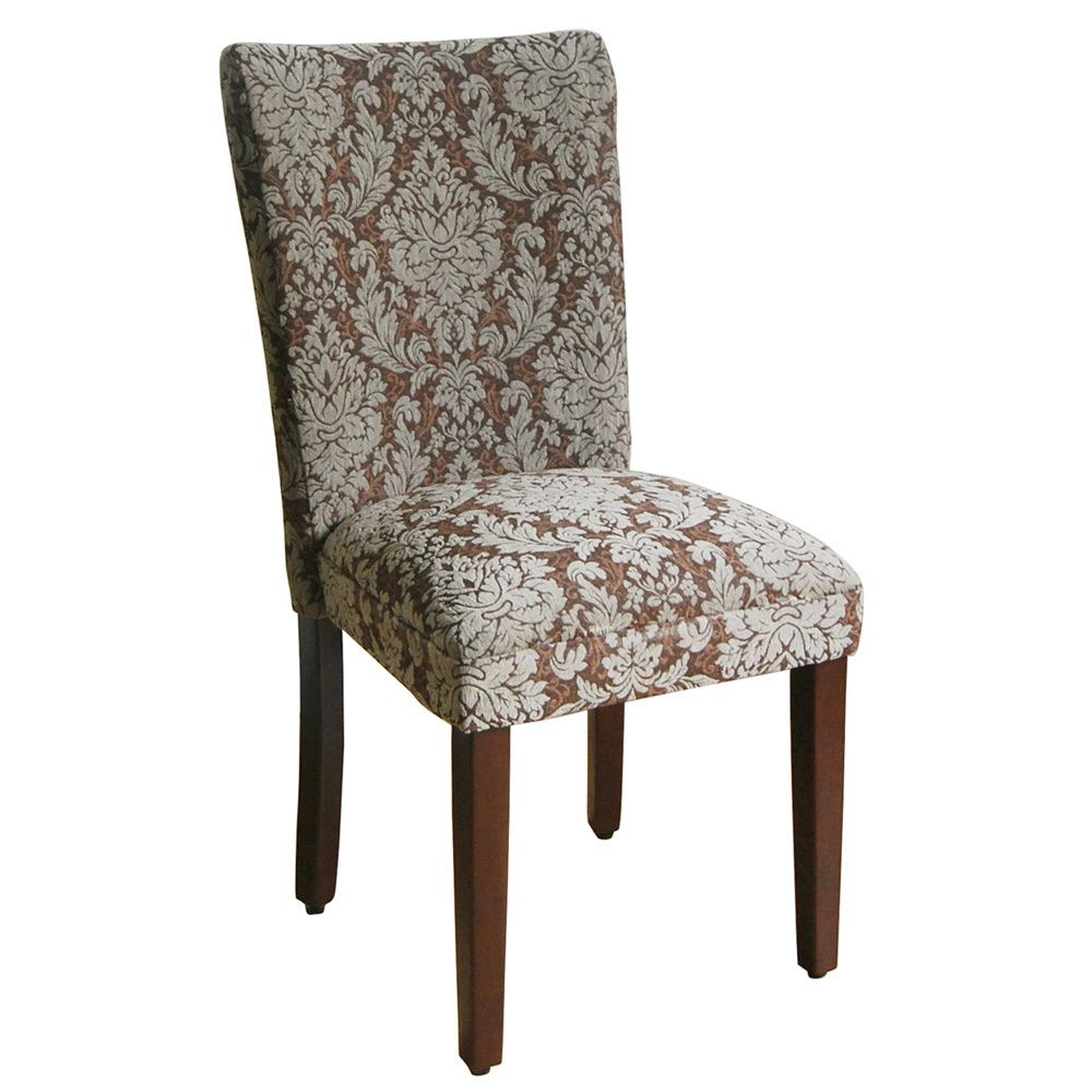 Elegant Blue And Brown Damask Parson Chairs (Set Of 2