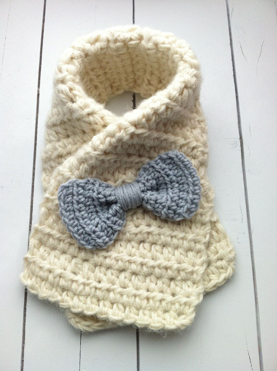 Crochet Toddler Bow Scarf, Child Safe Scarf, Ivory with Gray Bow ...