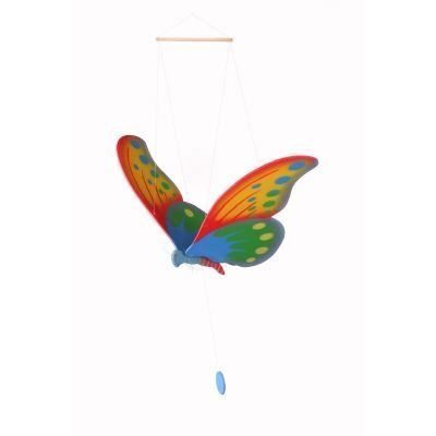 Wooden flying butterfly to hang from your ceiling.A lovely butterfy for any childs bedroom. A friendly face and beautiful wings make it gently fly when the string is pulled.