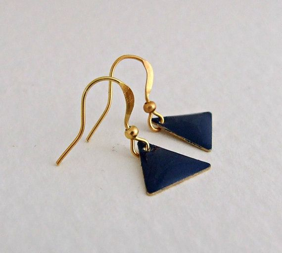 Navy Blue Triangle Earrings .. small earrings by beadishdelight
