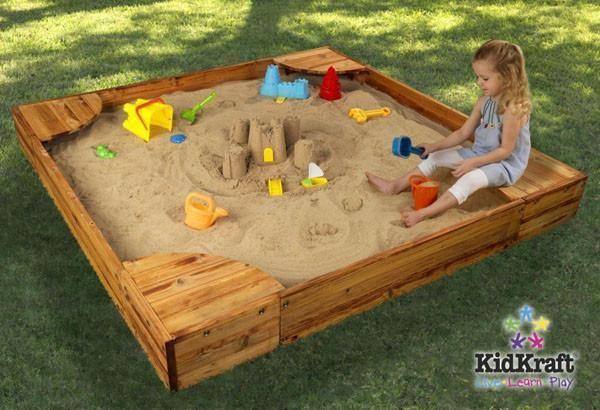 KidKraft Backyard Sandbox 130 | Kids sandbox, Wooden ...