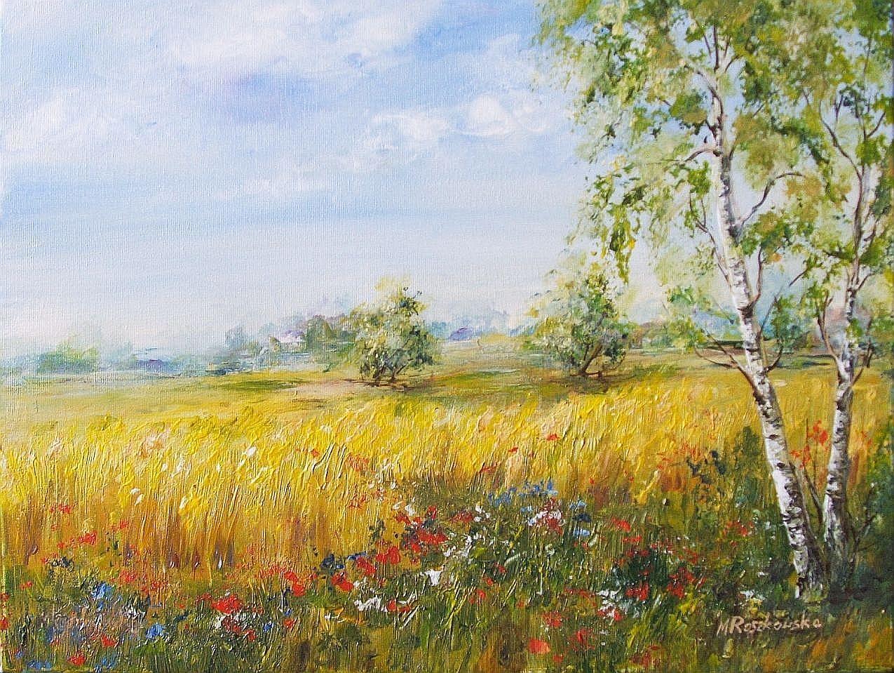 Cztery pory roku - lato - obraz akrylowy Maria Roszkowska (With ...