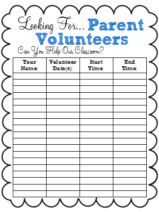 a Classy Collaboration Back to School Freebie Parent Volunteer
