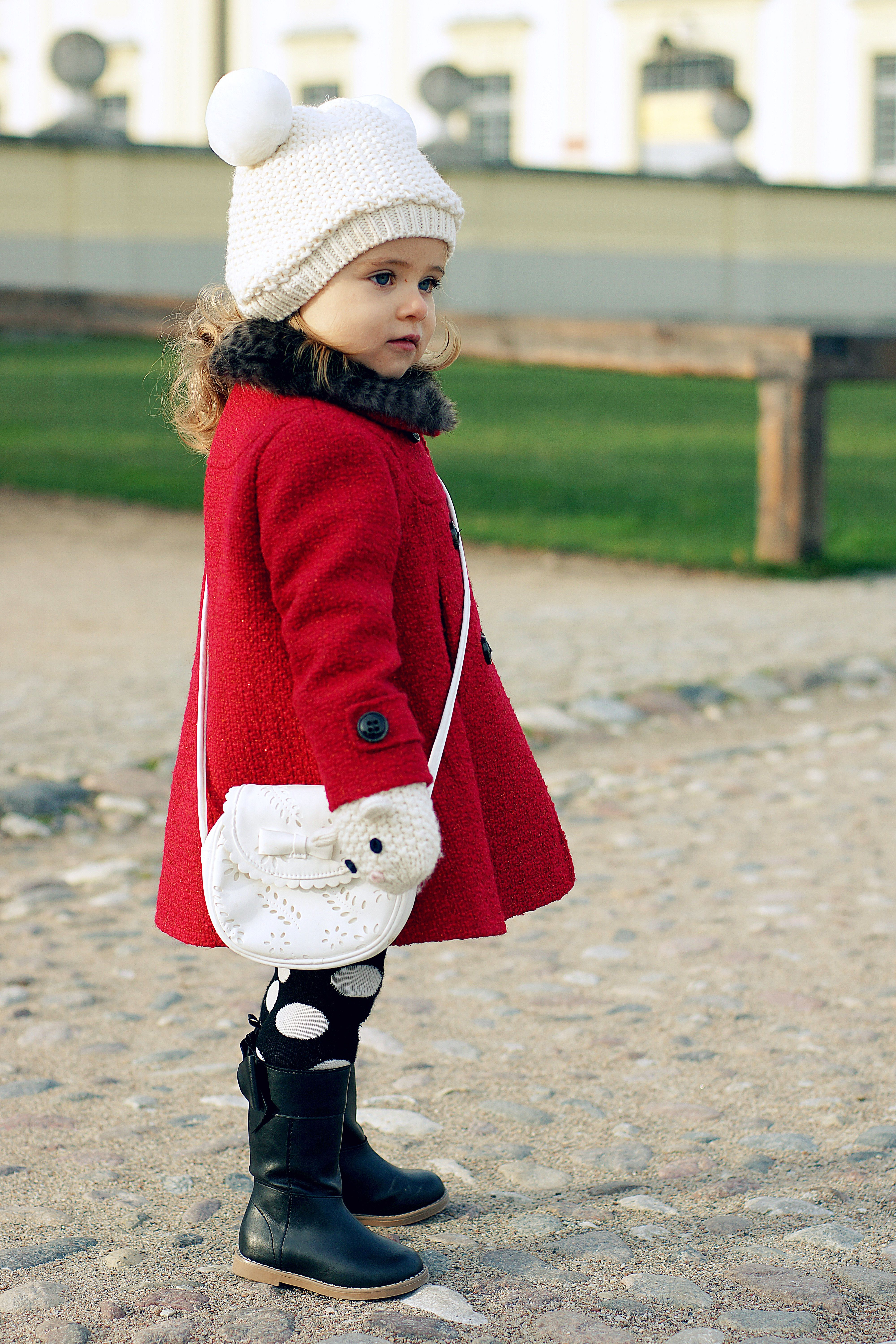 42d4fd905b14 Pompom hat + Red peacoat + polka dotted leggings + boots....adorable ...
