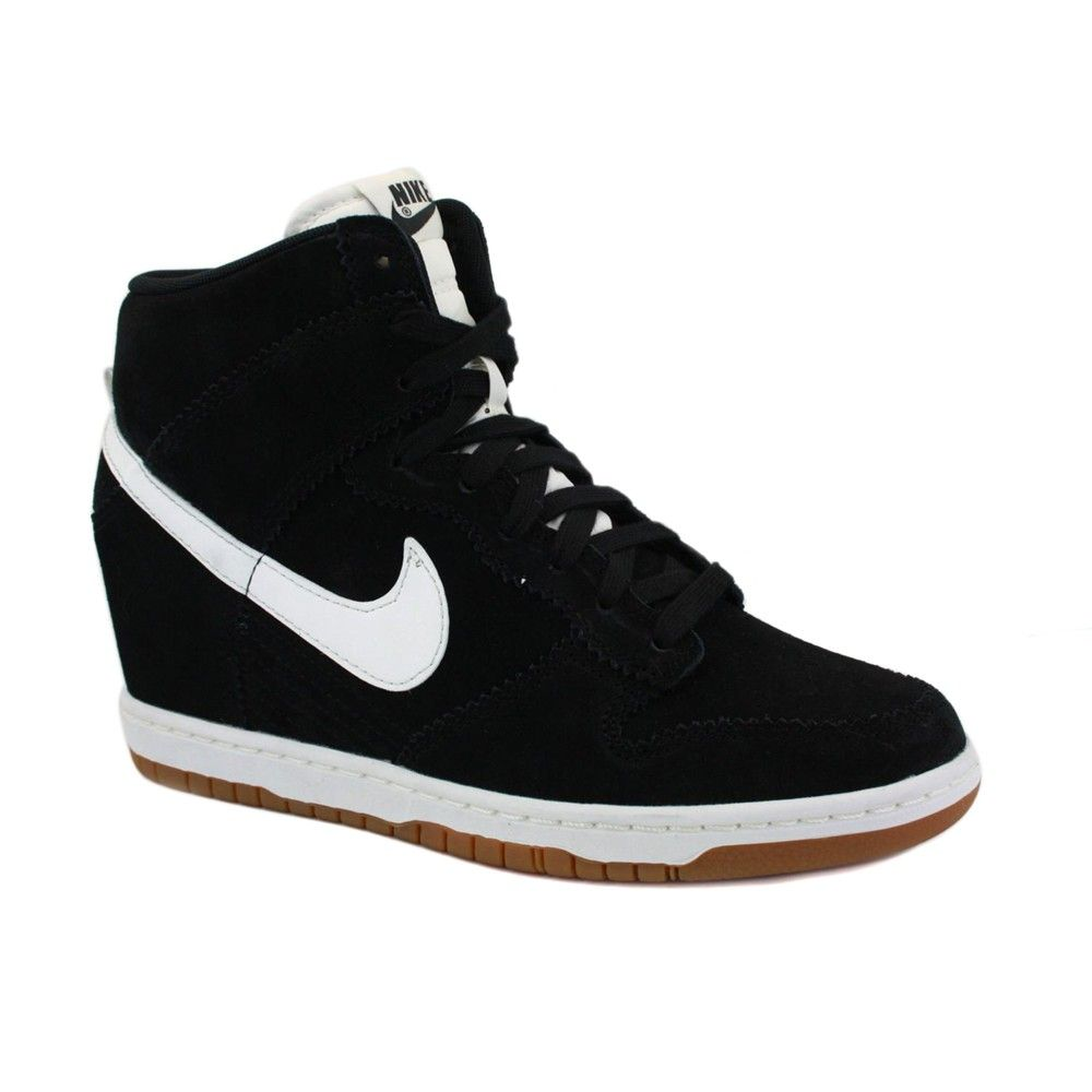 quality design b21f1 37fd9 ... Essential 644877-303  Nike Dunk Sky Hi 528899 002 Womens Laced Suede  Wedge Trainers Black White . ...