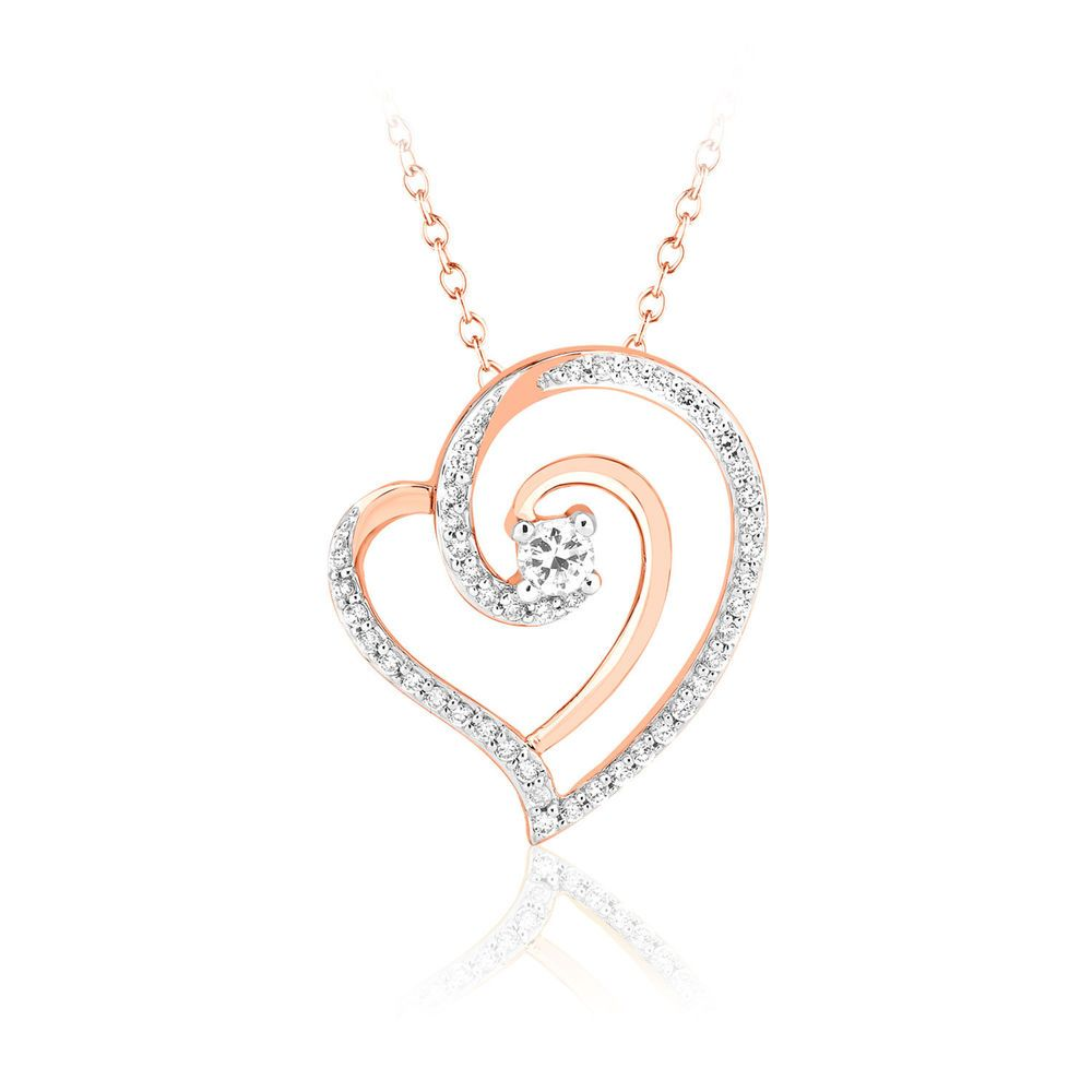 3//7 Ct Real Genuine Diamond Heart Pendant Necklace 16 Chain Solid 14k Rose Gold