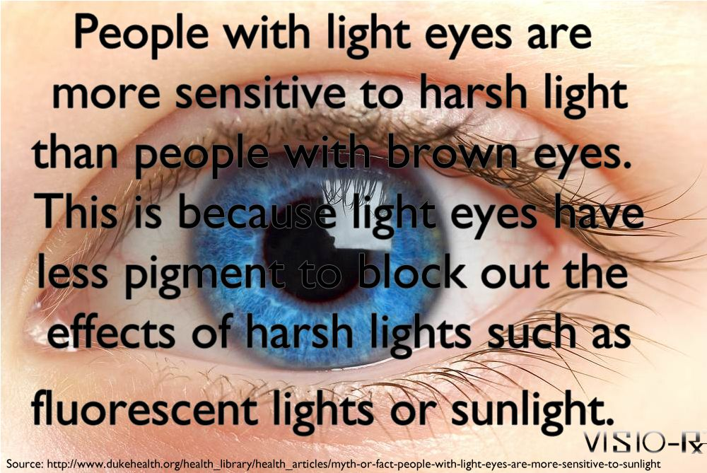 People with blue eyes are more sensitive to harsh light than people