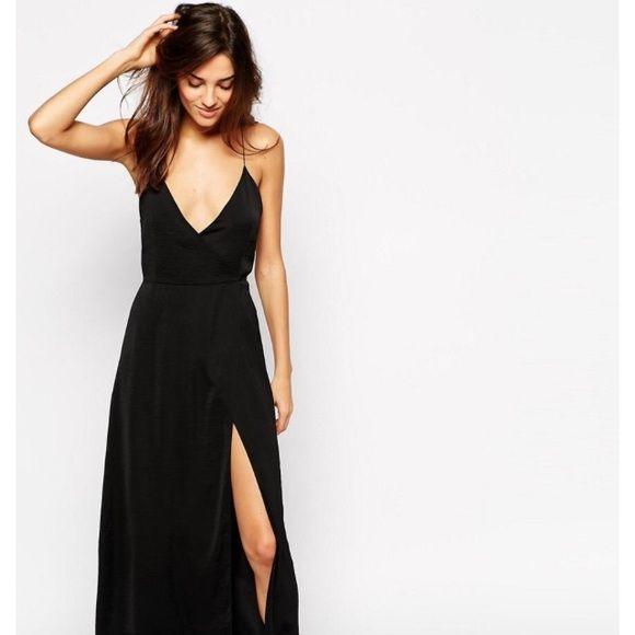 02171a36f742 ASOS Satin Split Front Maxi Slip Gorgeous satin black dress