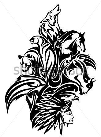 Native American Tribal Chief With Animal Spirits Tattoo Designs Jpg 330 447 Tribal Animal Tattoos Tribal Animals Native American Tattoos