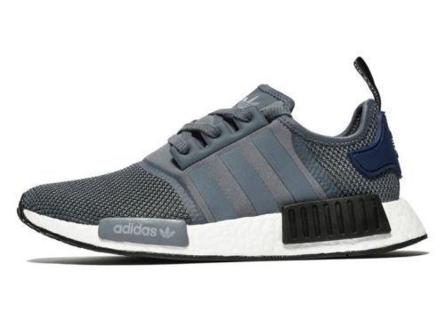 autentico adidas nmd r1 grigio bianco nero blu rifrangenti onix