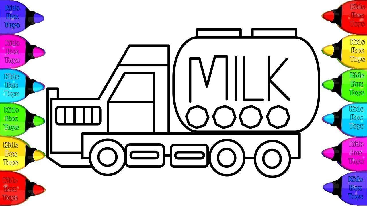 Milk Truck Coloring Pages For Kids How To Draw Milk Truck