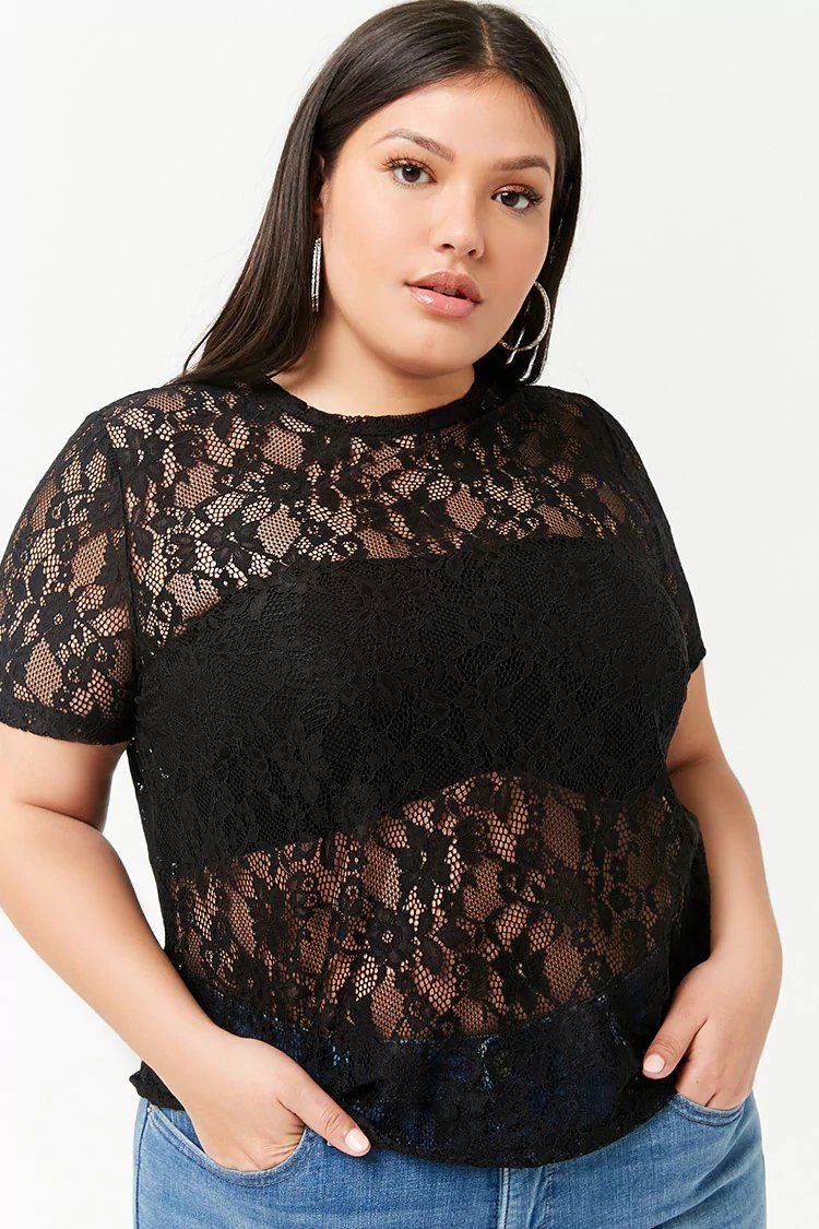 f47ccfd2c25 Product Name Plus Size Floral Sheer Lace Top