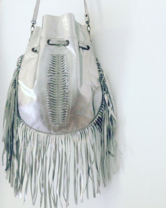 Leather Purse - Silver Leather Fringe Purse - Fringe Handbag - Silver Handbag - Limited Edition Handbag - Silver Rocker Purse