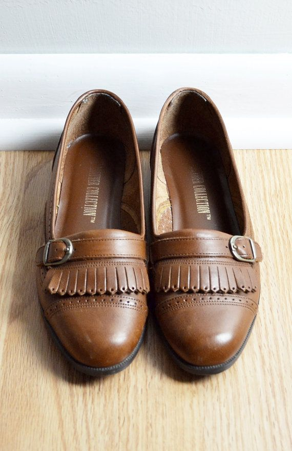 f3e21cafce0 Shoes Skimmer Loafers   Brown Leather Fringe Buckle   Spectator ...