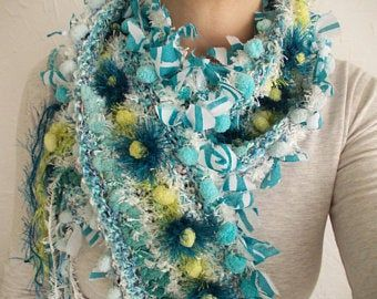 Photo of Scarf and GIFT earrings Teal blue gray white knit scarf winter fashion accessories pom pom neck warmer Christmas gift for her boho fringe