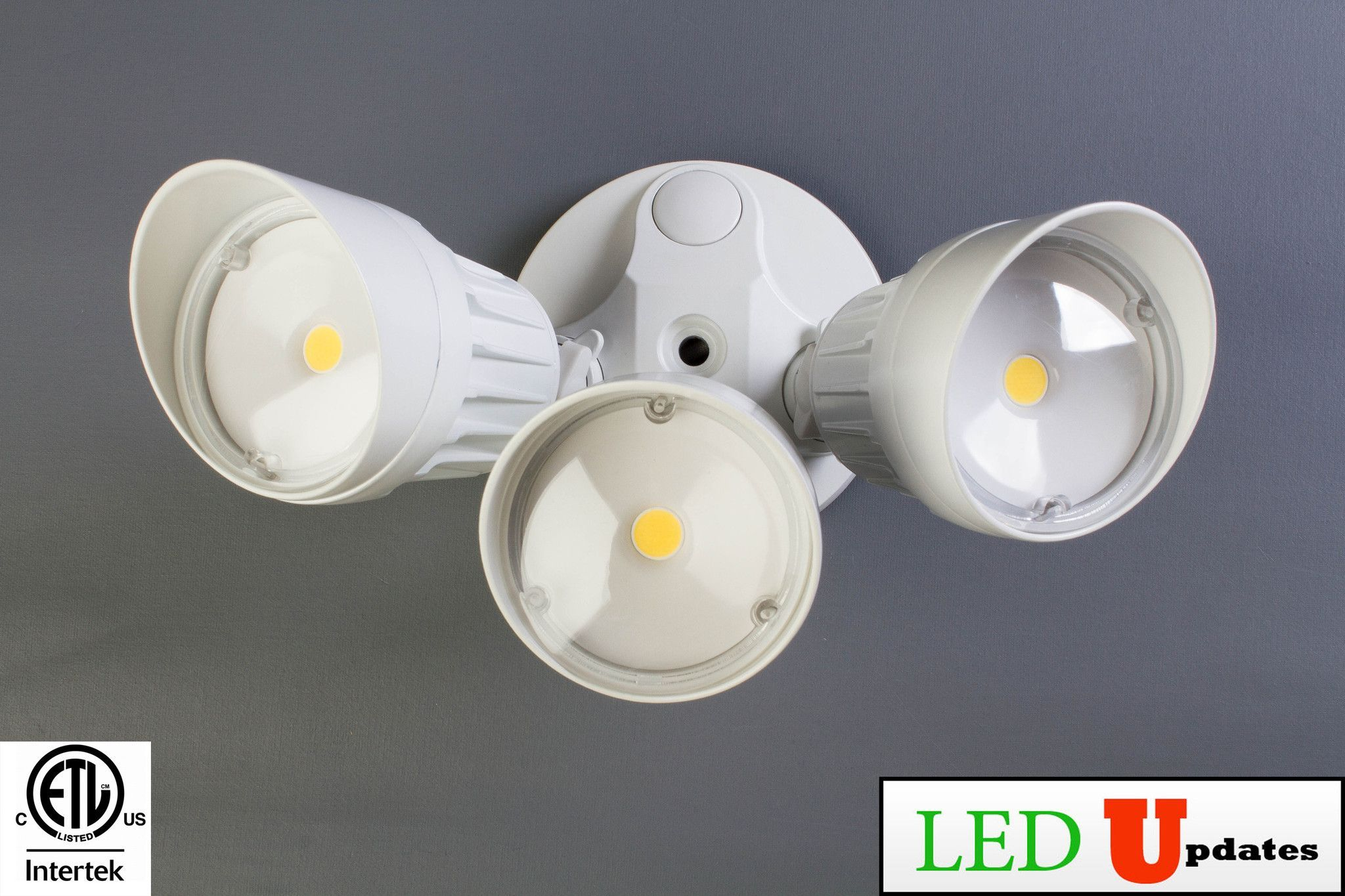 30W White Outdoor Security Wall Pack LED Flood light with 3 adjustable light head