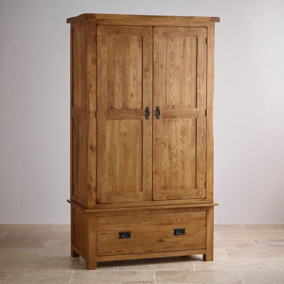 Original Rustic Solid Oak Double Armoire