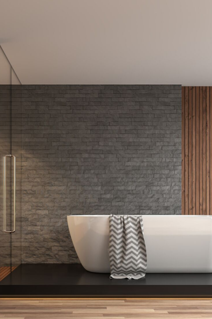 Grey Bathroom Ideas Slate Tile Wall Panels Modern Bathroom Ideas Japanese Home Inspiration In 2020 Bathroom Cladding Wooden Bathroom Floor Modern Bathroom