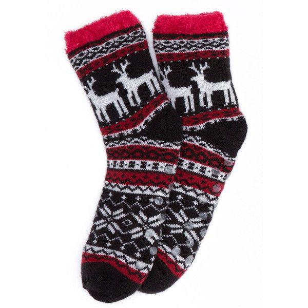reindeer fair isle slipper sock (20 CAD) ❤ liked on Polyvore ...