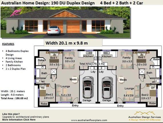 Duplex House Plans Book House Plans Home Plans Duplex Etsy In 2020 Duplex Floor Plans Duplex House Plans Duplex House