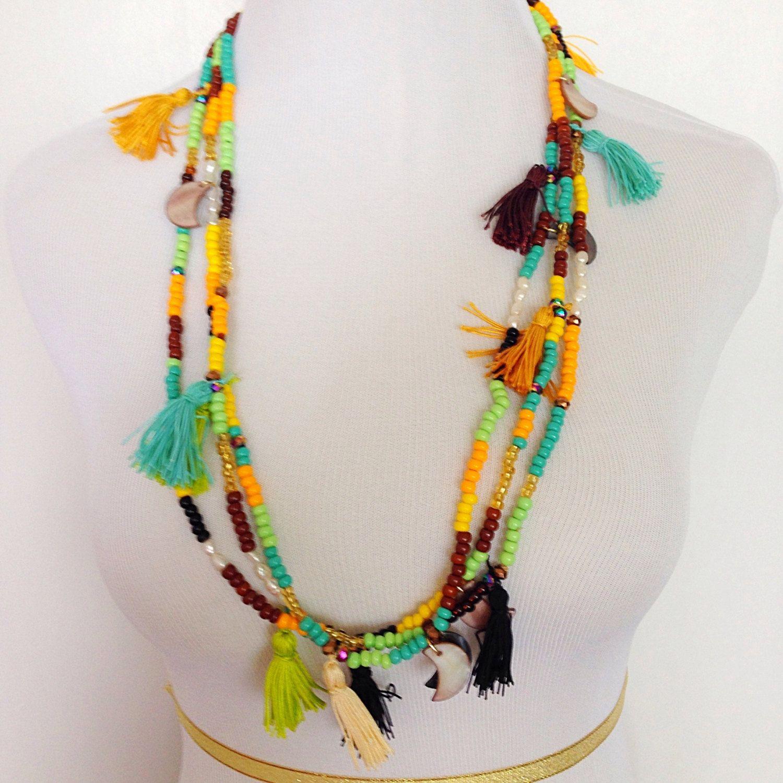 Collier collier de tissu long Rosette par PriFabricsAndBeads