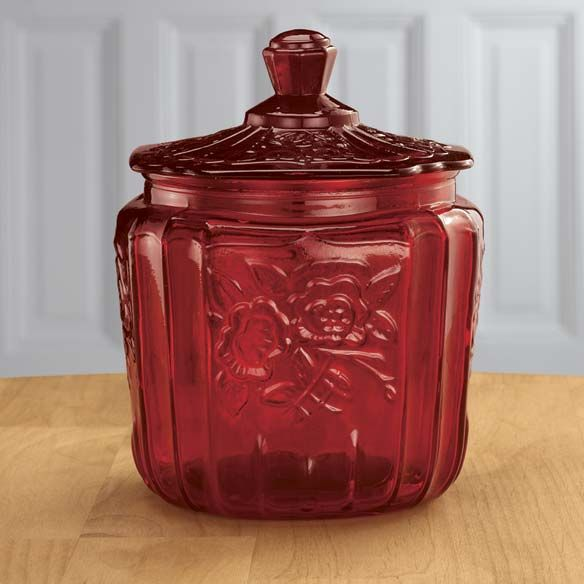 Red Kitchen Glassware: Depression Style Glassware