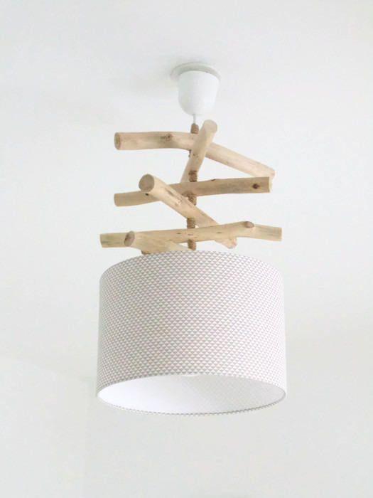 Lustre bois flotté triangles blanc/taupe abat jour cylindre ...