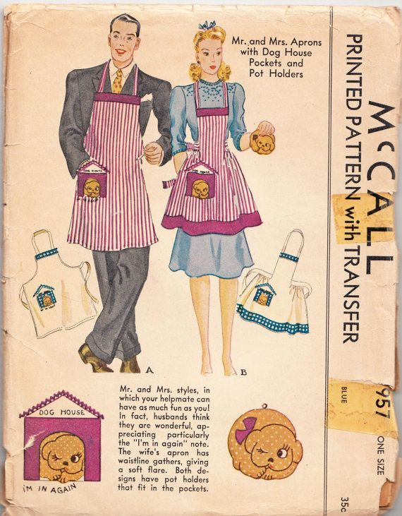 Vintage Sewing Pattern Mr. and Mrs. Aprons with Dog by Mrsdepew ...