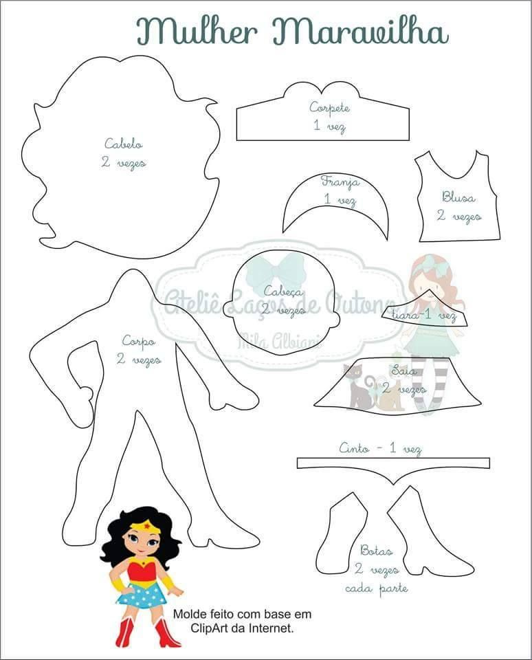 Wonder Woman template | Superheroes | Pinterest | Bucheinband, Puppe ...